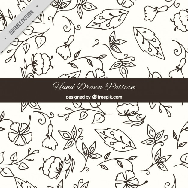 Sketches floral and variety of leaves pattern