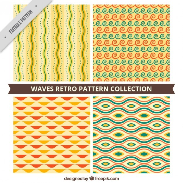 Waves vintage pattern collection