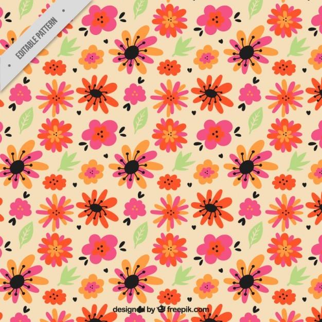 Vintage orange flowers and leaves pattern