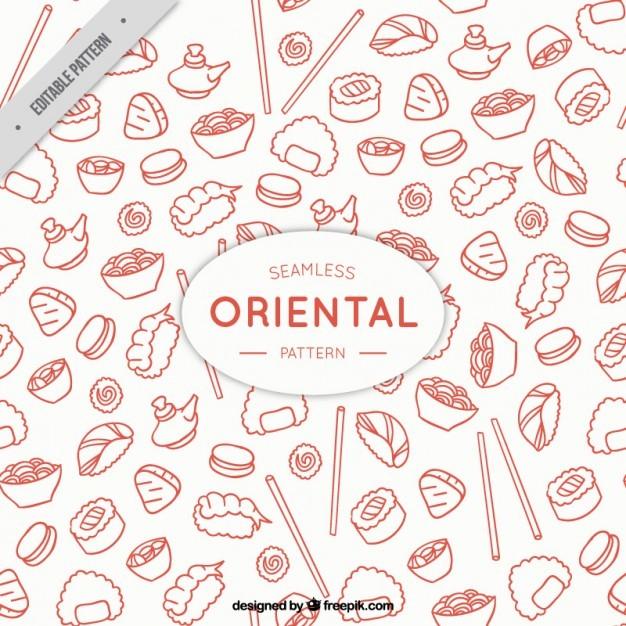 Sketches oriental menu pattern