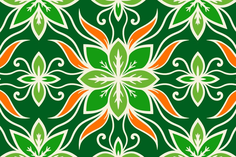 DECORATIVE LEAVES SEAMLESS PATTERN