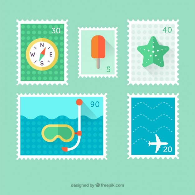 Variety of flat summer stamps