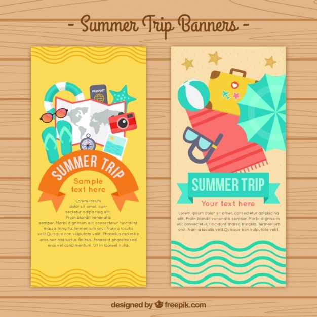 Flat summertime banners with elements
