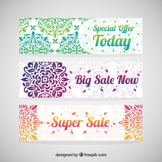 Colorful decorative sale banners