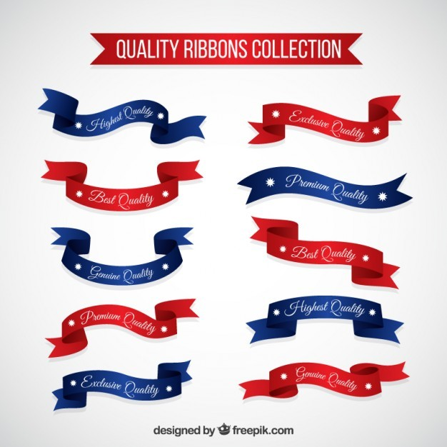 Red and blue quality products ribbons