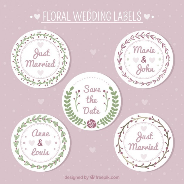 Rounded vintage wedding labels pack