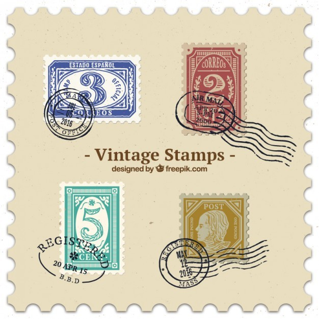 Set of cute colored vintage stamps
