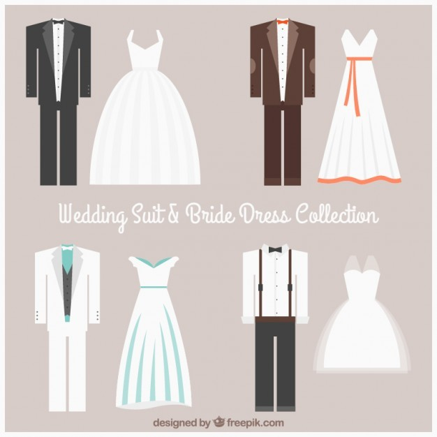 Wedding suit and bride dress collection