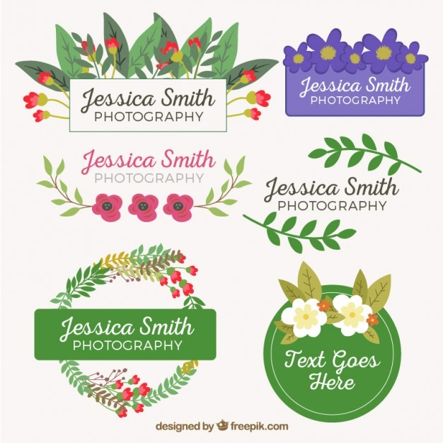 Coloured floral badges design