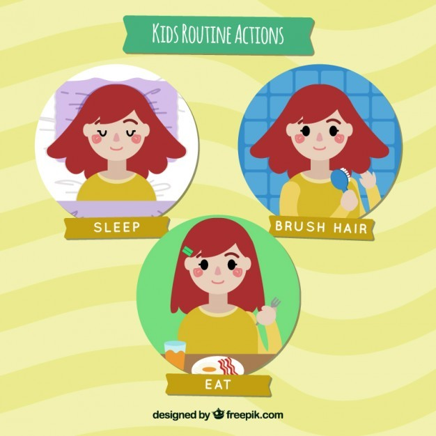 Girl doing routine actions flat design