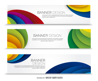 Colorful banner set with waves