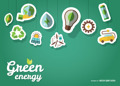 Green energy wallpaper with stickers