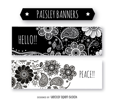 Black and white paisley banners