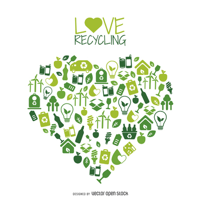 Heart with recycling and environment icons