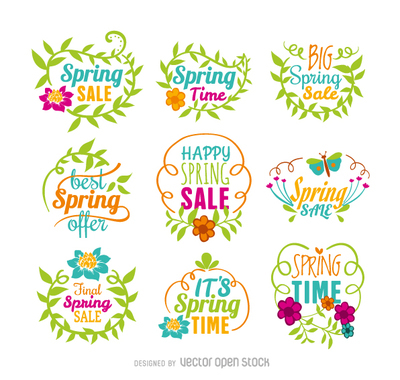 Spring sale vector set