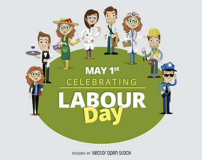 Labour Day May 1st cartoon workers