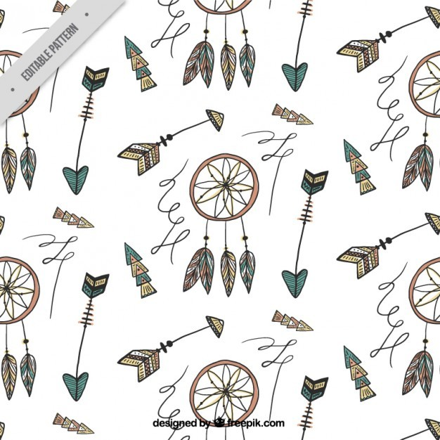 Hand drawn dreamcatcher and feathers pattern