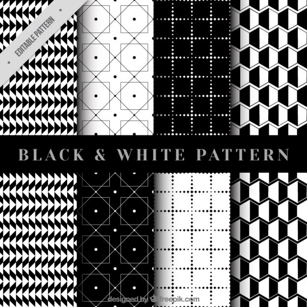 Collection of geometrical pattern in black and white