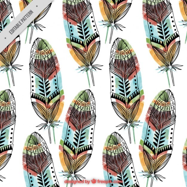 Hand drawn feathers pattern with colors