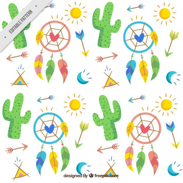 Hand drawn cacti and boho elements pattern