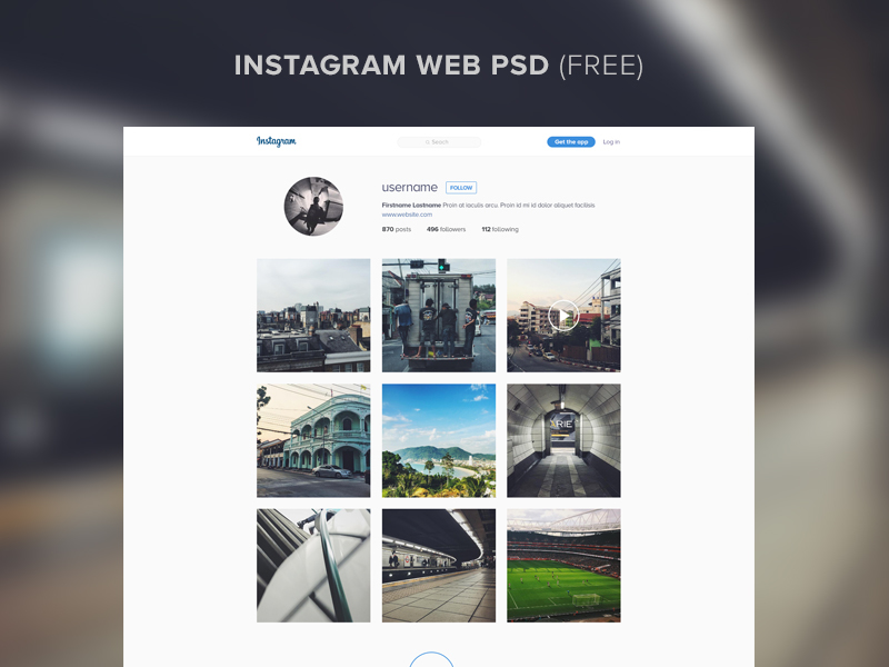 instagram Website Template PSD