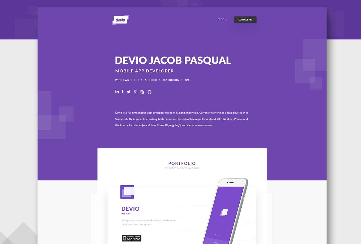 Devio – Free One Page Portfolio Template PSD