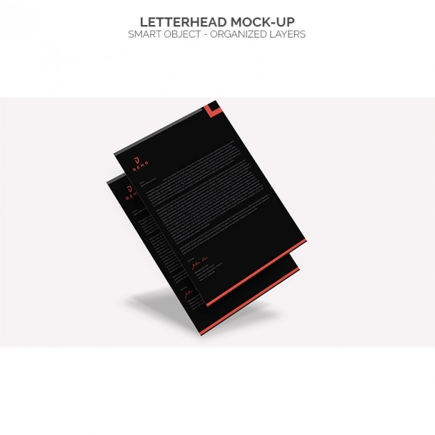 Black letterhead mock up