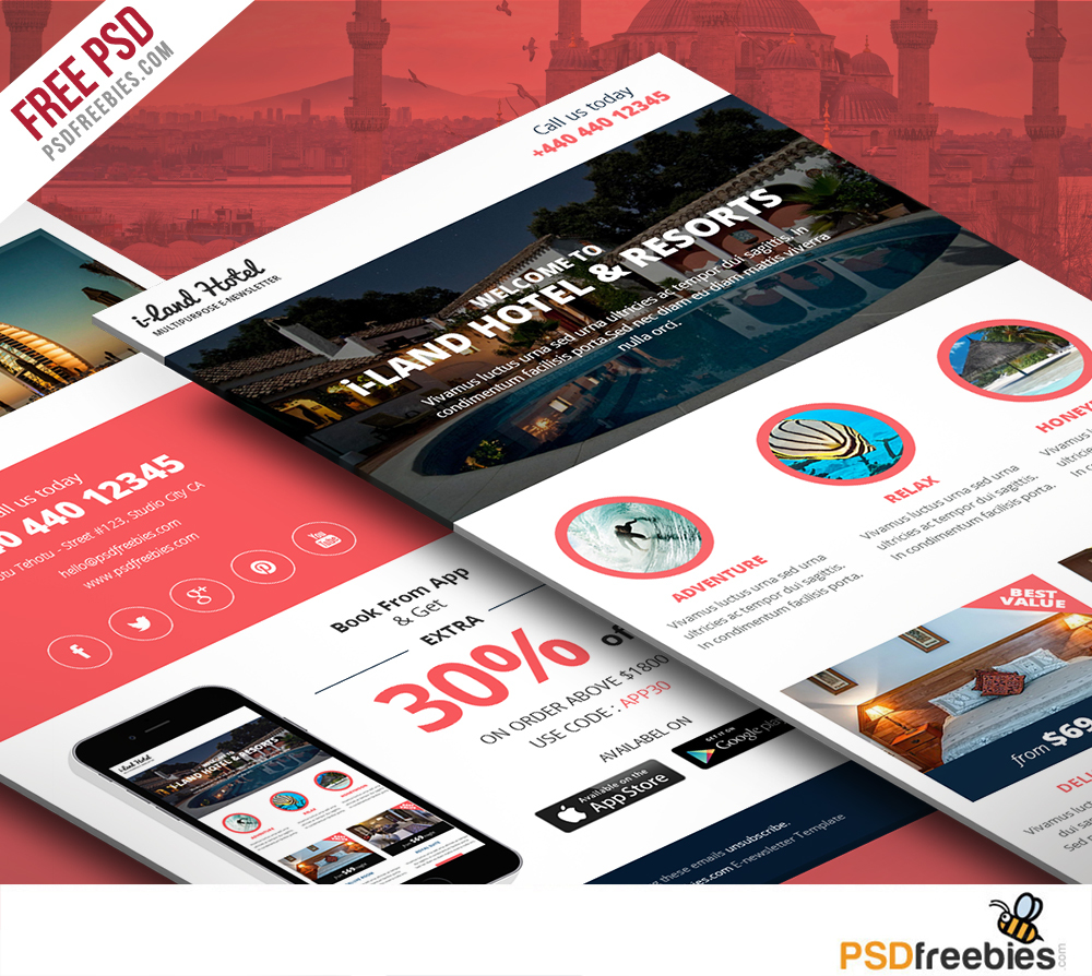 Freebie : Hotel Deals and offers Newsletter Template Free PSD