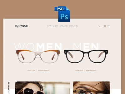 Eyewear E-commerce PSD Freebie