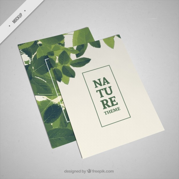 Organic brochure mockup with green leaves