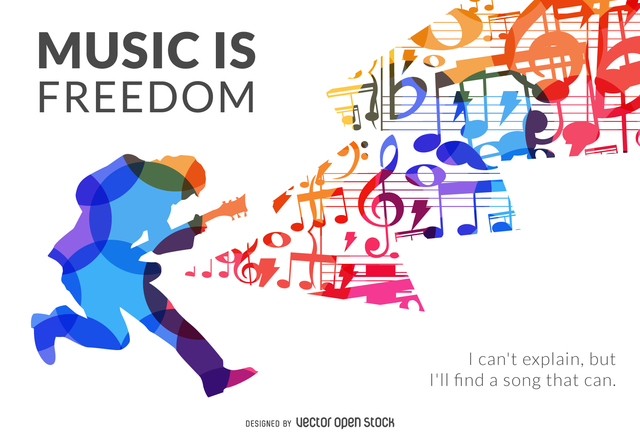 Music is freedom silhouette poster