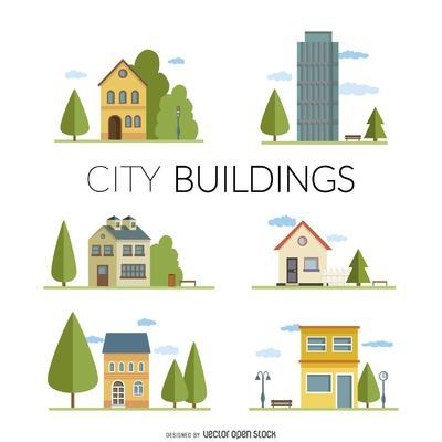 Flat city buildings illustrations