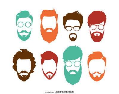Hipster hairstyle set