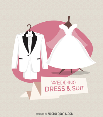 Wedding dress and suit illustration