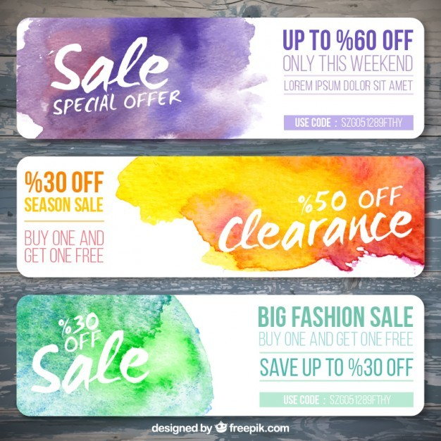 Sale banners set with watercolor stains