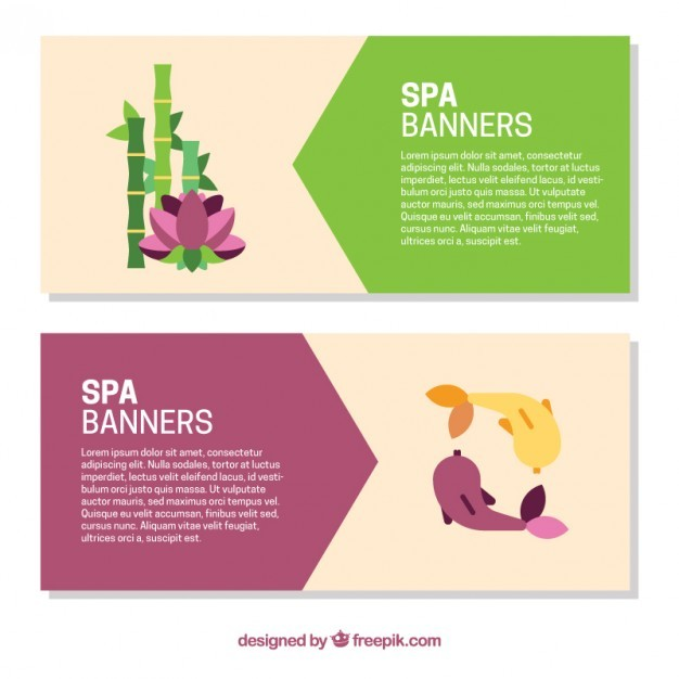 Cute spa banners with fishes and bamboo
