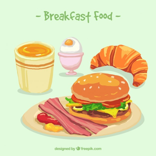 Breakfast time with delicious food