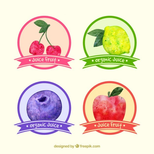 Ser of four watercolor cute fruits stickers