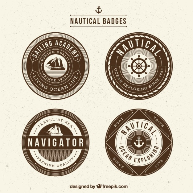 Vintage nautical badges in retro style