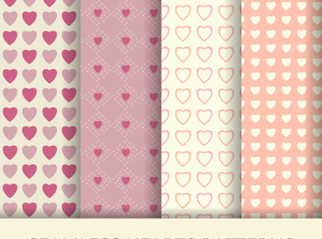 4 Seamless Hearts Patterns Vector Background
