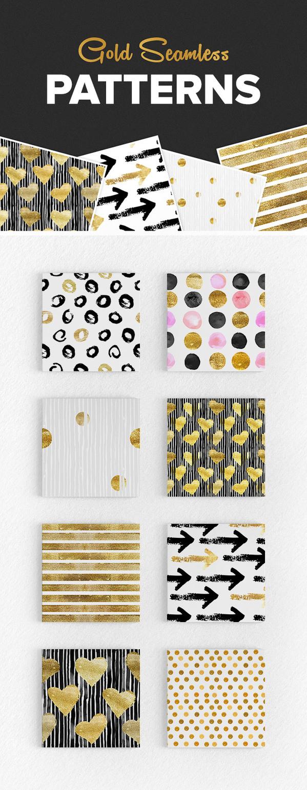 Seamless Gold Pattern Set