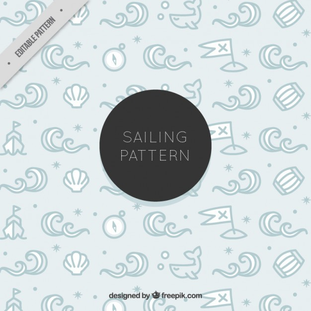 Hand drawn sailor elements cute pattern