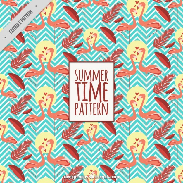 Summer pattern with flamingos