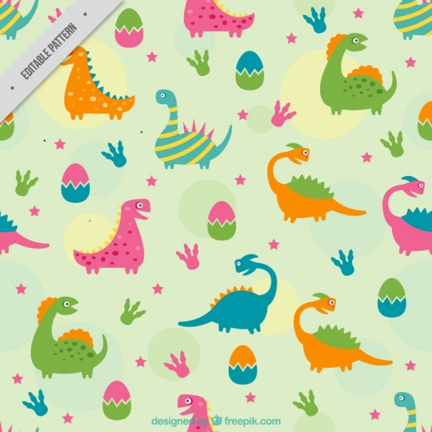 Coloured dinosaurs pattern