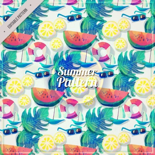 Watercolor summer elements pattern