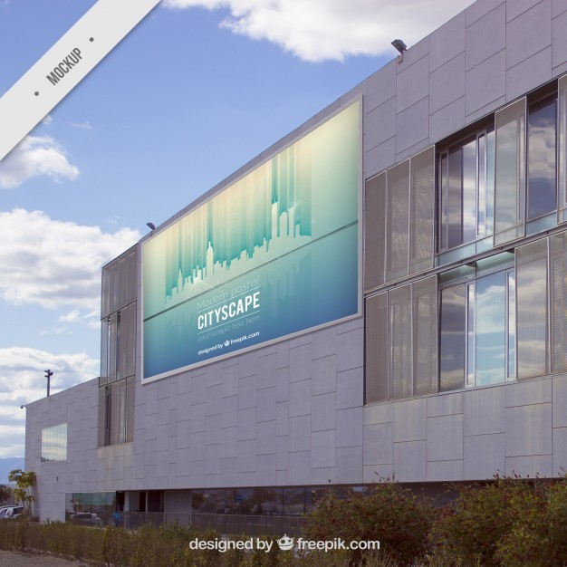 Outdoor billboard on a modern building