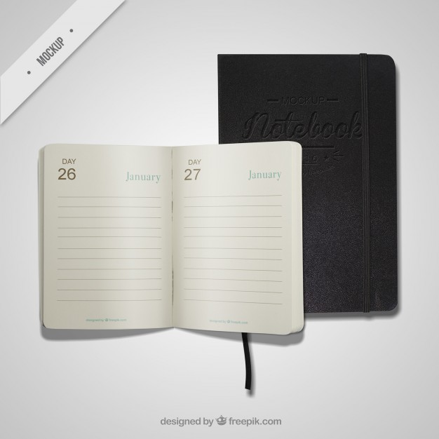 Open diary and notebook