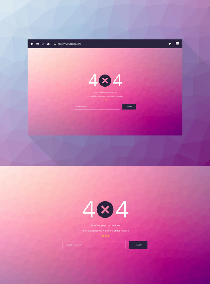 Free 404 PSD Page Template