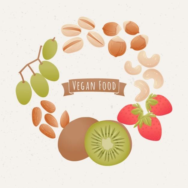 Coloured vegan food background