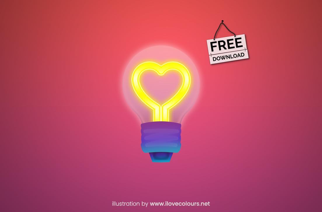 light bulb with heart incandescent filament vector illustration